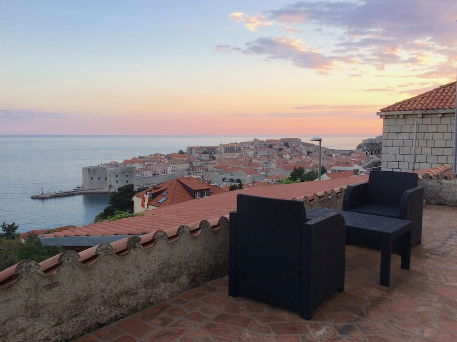 Front balcony view towards old city of Dubrovnik, also view from living room and bedroom. Sunset