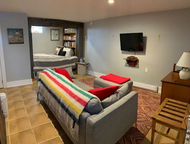 Renovated basement Family Room with built in bednook