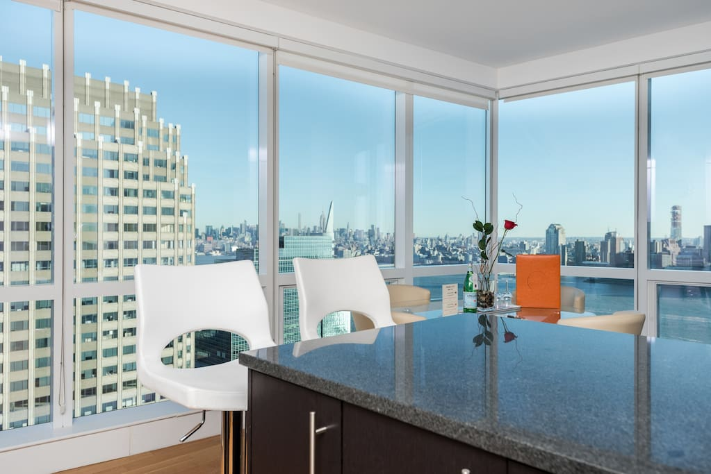 Gorgeous view of NYC from the kitchen/living space