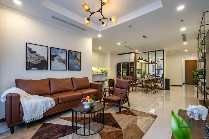 Living room + bar + dining room + hallway