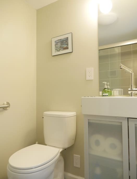 Newly added modern bathroom. We love clean, fresh design :-)