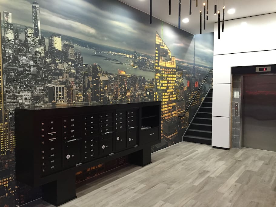 Lobby of Building With An Awesome New York City Backdrop