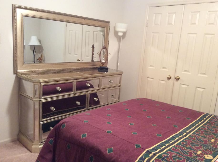 Room 3 - Queen Bed with Large Dresser and Mirror