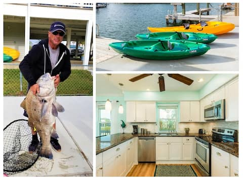 5★ Waterfront home! Bikes & Kayaks! Great fishing!