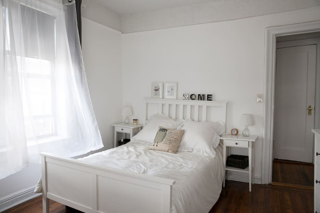 Bedroom (for Airbnb Guest): Full-size bed, an extra single size air mattress can be added