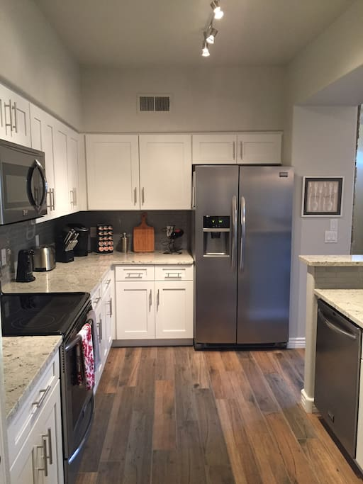 Stainless steel appliances and soft close drawers and cabinets.