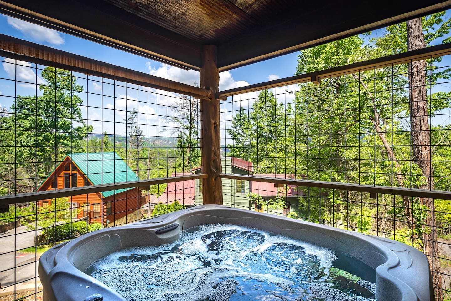 Hot tub (has roll down shade for privacy)