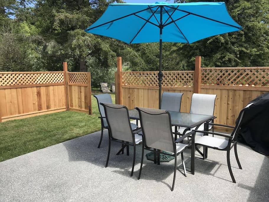 Here is a picture of your fenced private deck, and your own BBQ for when you want to chef it up.
