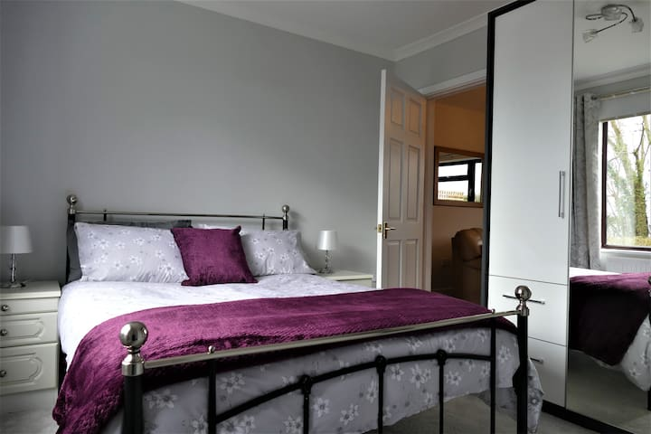 Double bed and large wardrobe