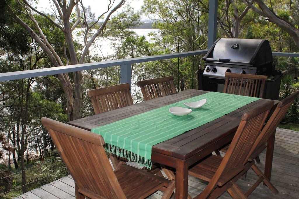 Main deck overlooks Wallis Lake