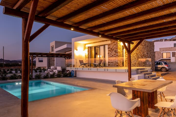 Naxos seafront private villa with pool