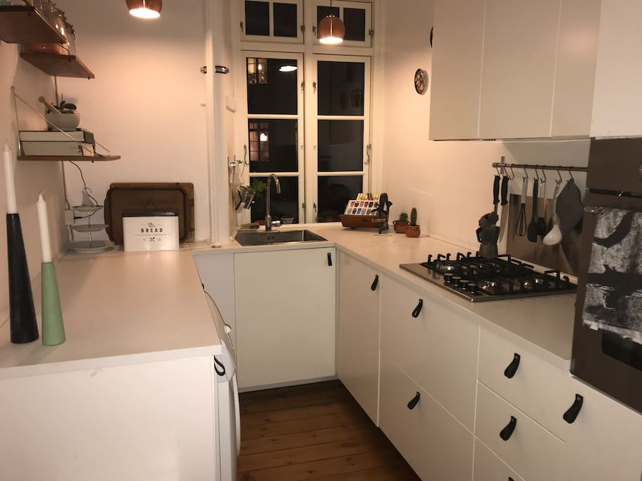 Kitchen from 2016 with gas stove and dishwasher