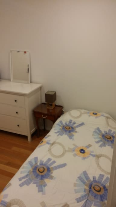 Single bed with fresh linen and pillow. Drawers with space for your clothes.