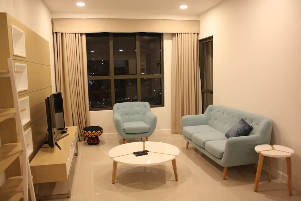 Living area looks great at night