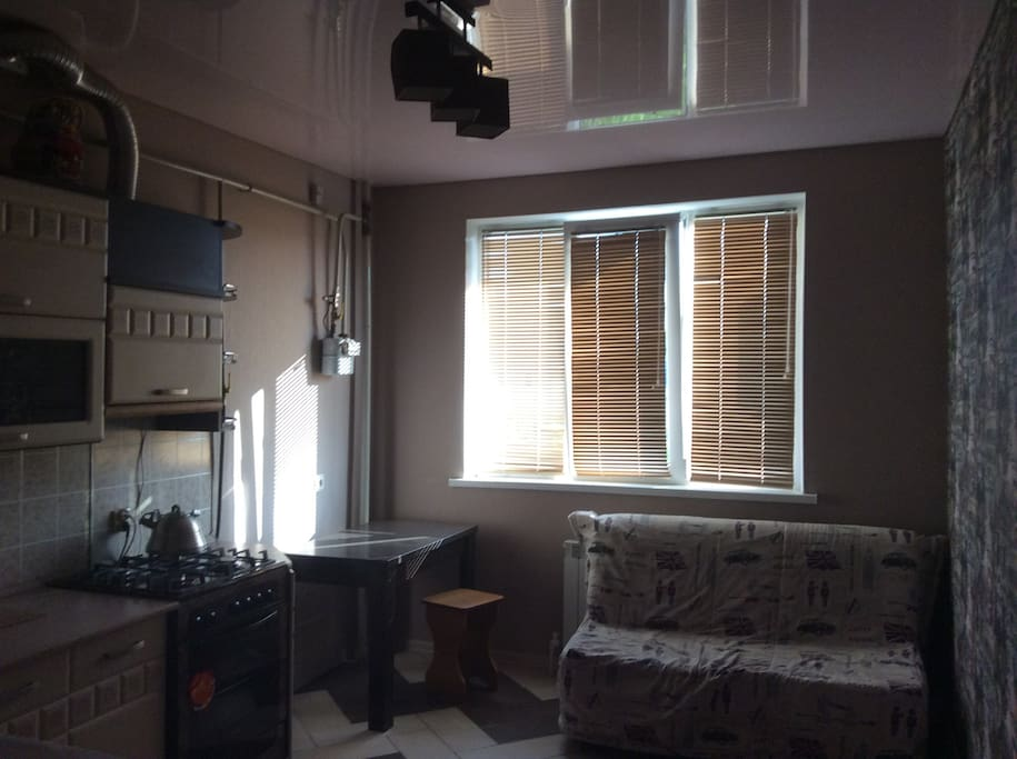 Полностью оборудованная кухня и два спальных места