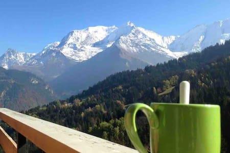 Vacances vue panoramique Mont Blanc