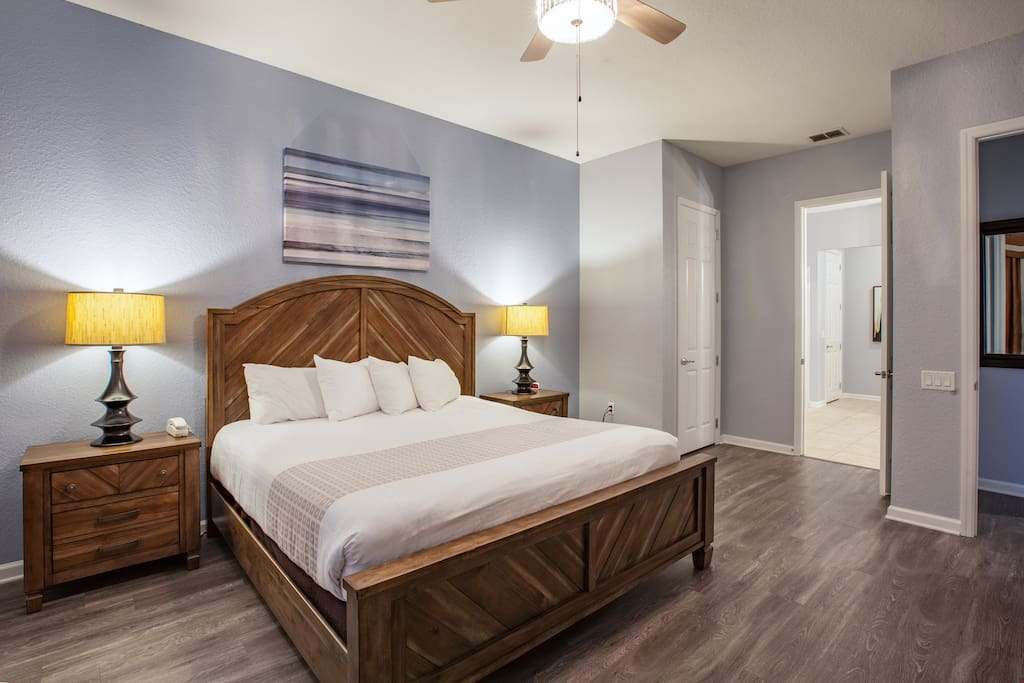 Sink into the king-sized bed in the master bedroom