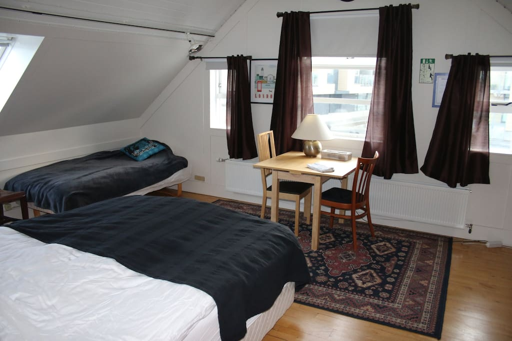 Family room,The double bed and the single bed