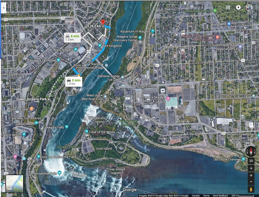 We are located steps to Beautiful Niagara Falls and  visitor attractions