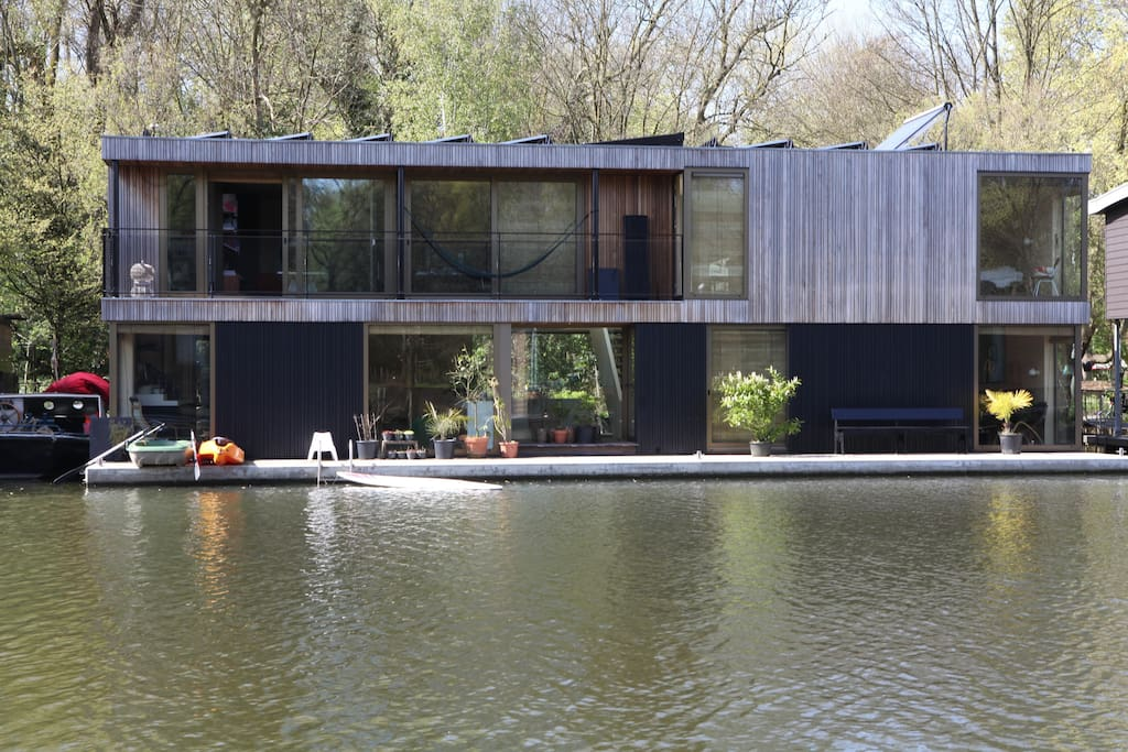 house boat on the waterside