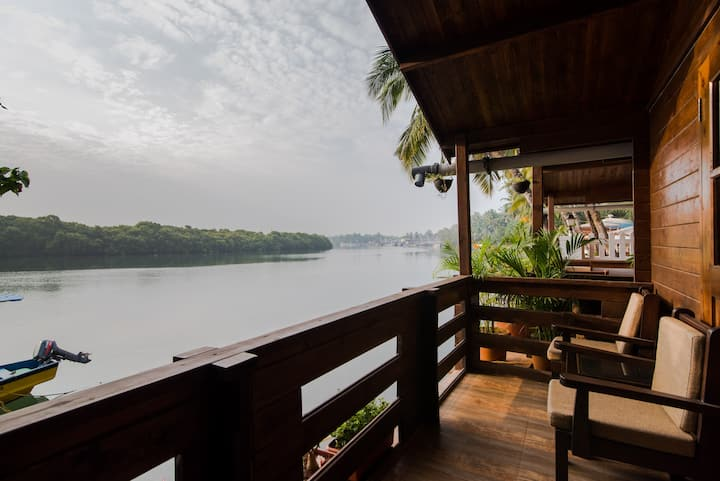 AC River View Cottage at Mobor Goa