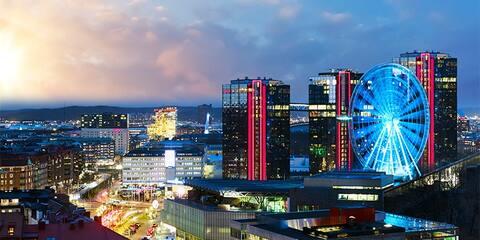 view over Liseberg, Gothia Towers, Svenska Mässan