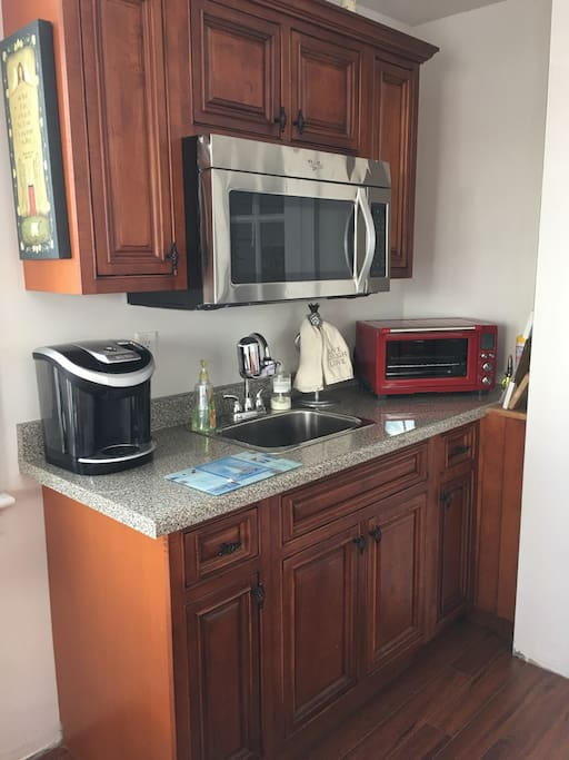 Kitchenette with full refrigerator