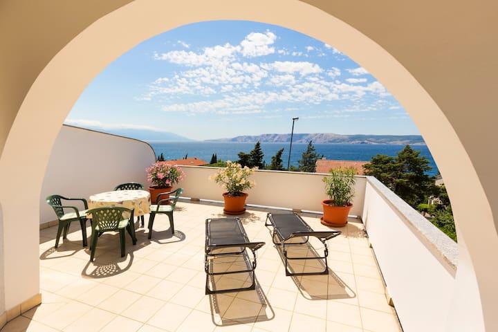 Apartment with sea view in Novi Vinodolski Croatia