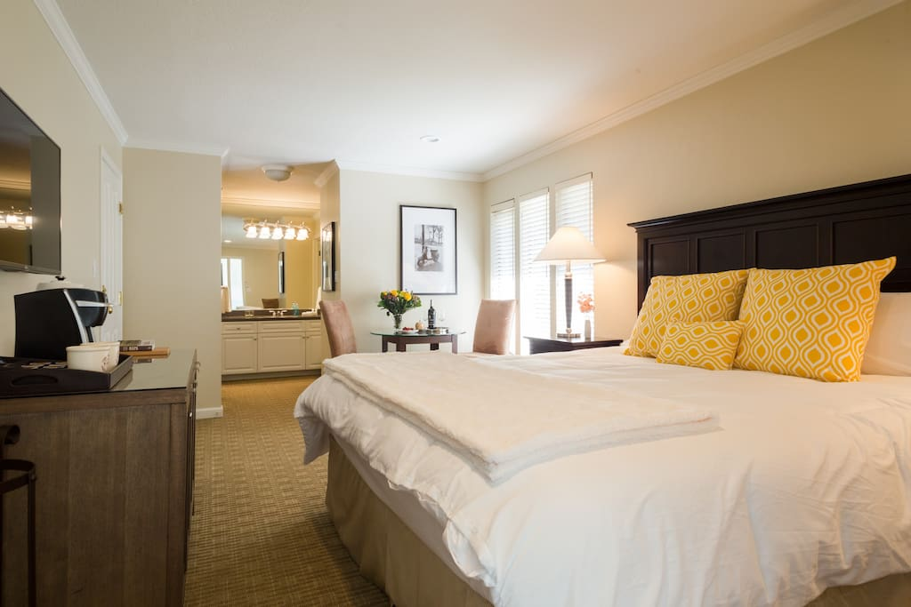 Relax in your romantic resort room at the Silverado Resort & Spa.