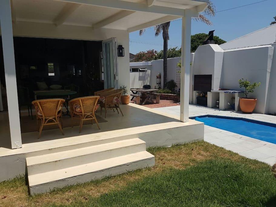 Covered veranda with braai area and pool