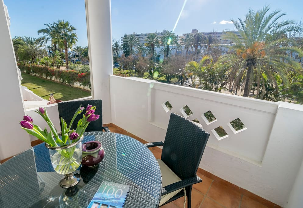 terrace with Puerto Banus in the background