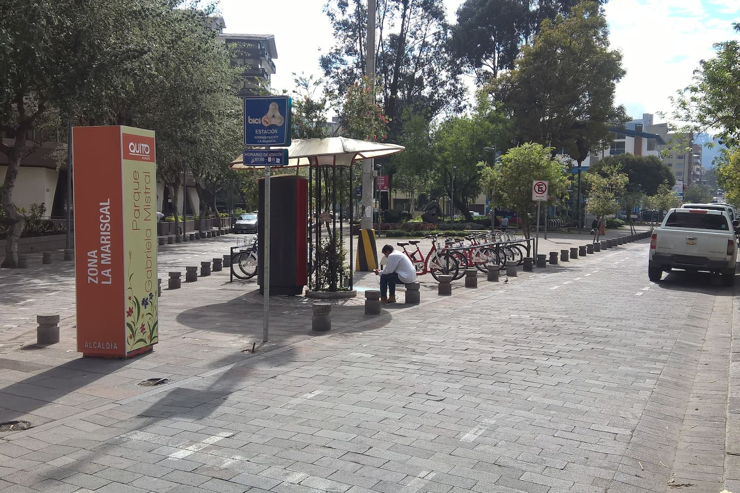 Across the street,  you can walk in this small park or rent a bicycle. Best way to get around town, fast and easy.