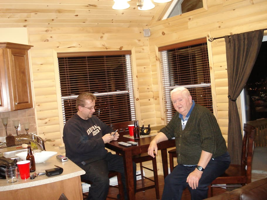 Frank and his father Michael... in the cabin kitchen area