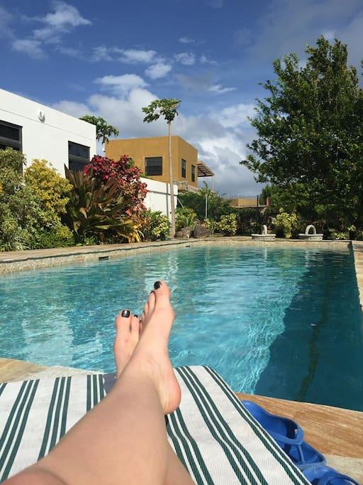 Relaxing poolside!