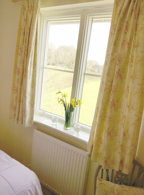 Your double room is light and bright, especially on sunny days, overlooking a school playing field with a river and surrounding trees.