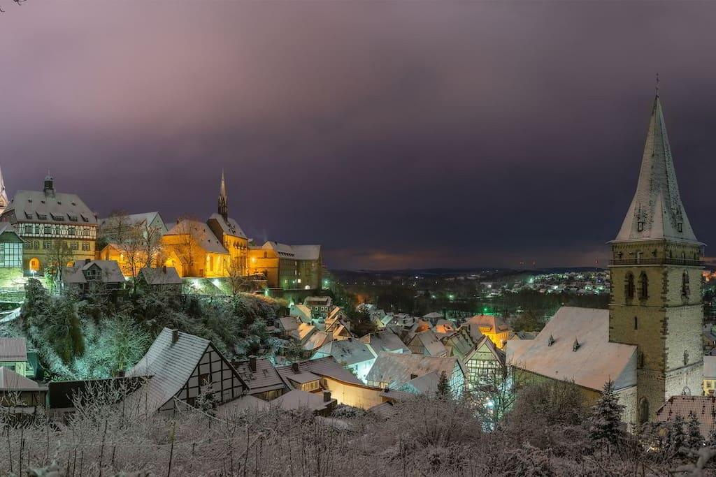 Warburg skyline in Winter