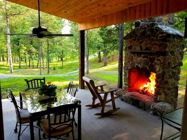 The fireplace patio