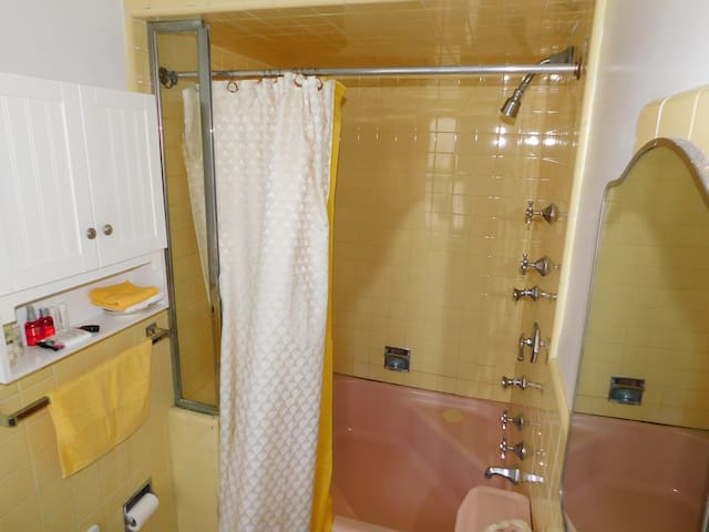 Shower has 3 areas where water comes out. I have gotten compliments about it from guests