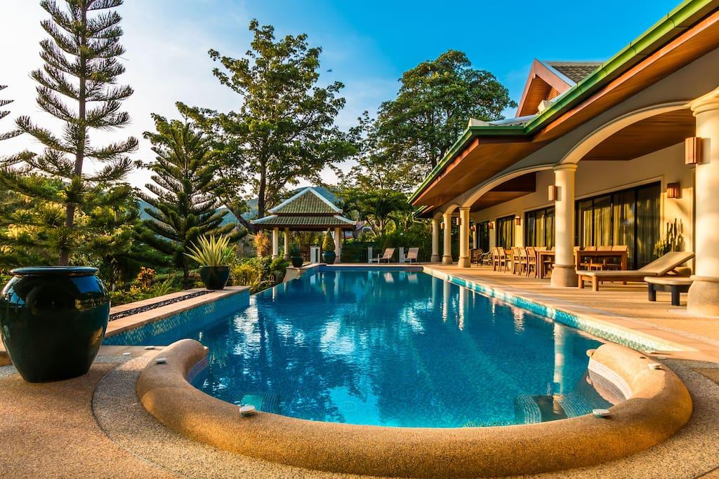 Huge poolside terrace around the 17m pool.