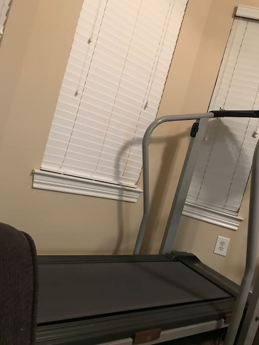 Treadmill is now in the bedroom and works great and there is TV above it with streaming apps (This is the gym and it is open 24/7).
