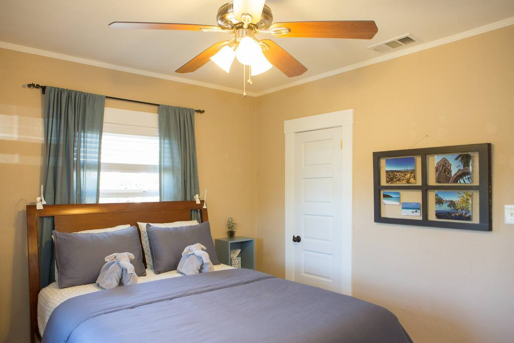 Plenty of windows for getting those coastal breezes, plus a plush queen bed