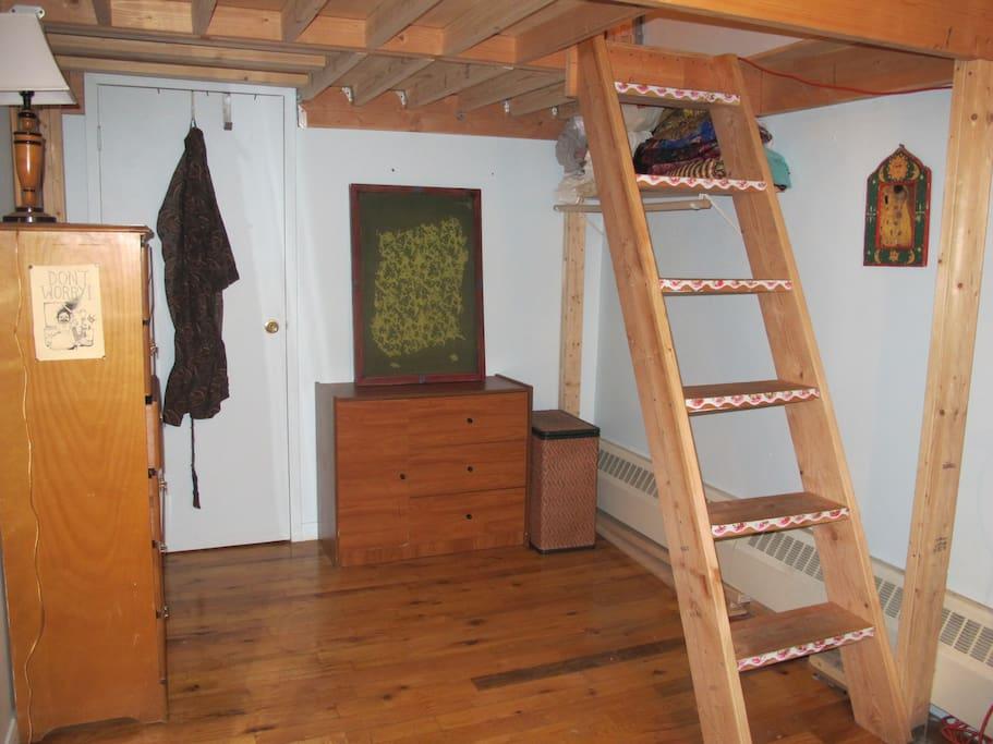 Downstairs of cozy loft bedroom.