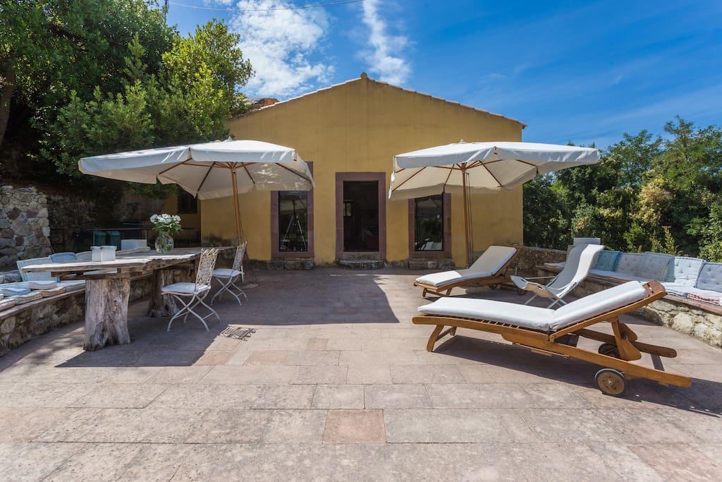 The lovely, sunny veranda in the front