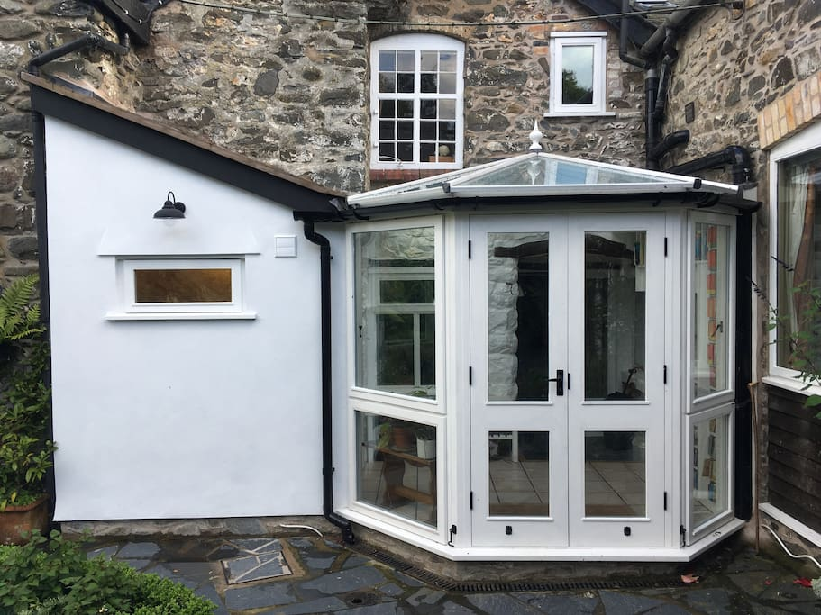 New for 2018: Conservatory/porch and toilet, built by local craftsman Paul Kirk