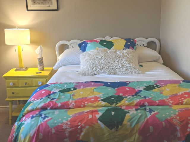 Private Room, Full Bed, in a Colorful Bold setting