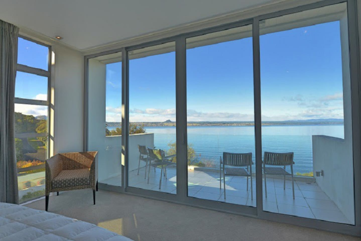 Gorgeous lake views from the master bedroom (and both living areas)