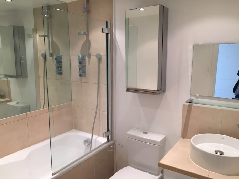 Modern bathroom with tub and shower