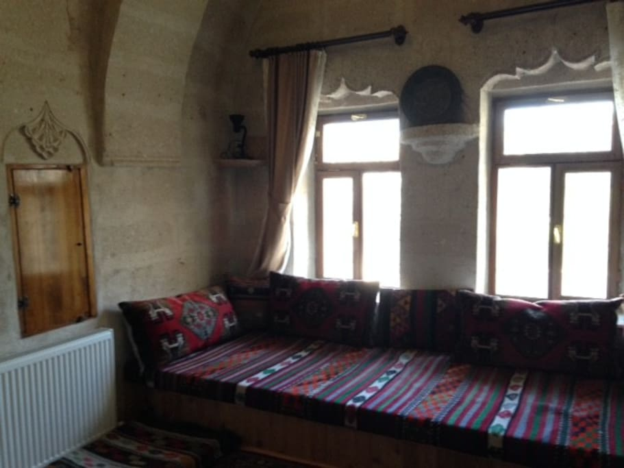 The sitting room with traditional sedir (sofabed)