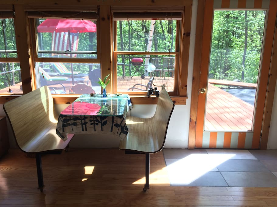 Breakfast nook with view of the deck