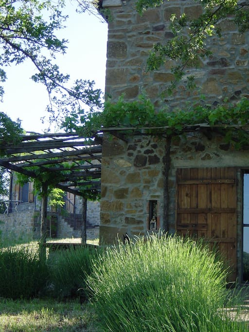Terrasse und kleines Haus im Hintergrund